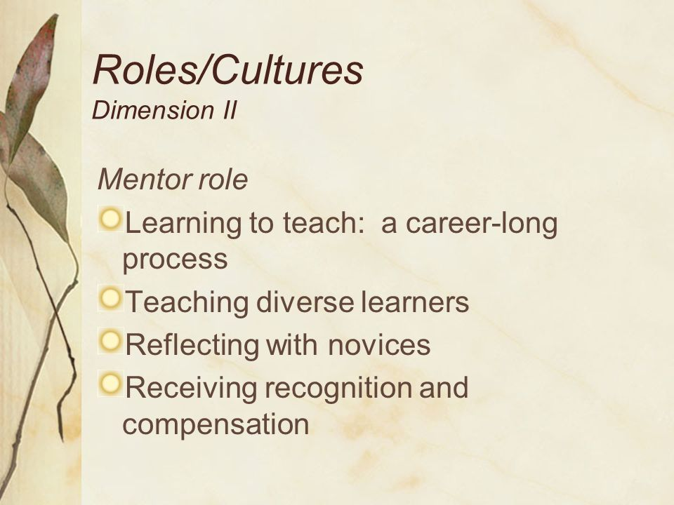 Mentor Selection/Matching Dimension III Mentor Selection Committed to developing own practice Knowledgeable about standards-based teaching Competent in working with adults from diverse backgrounds Sensitive to the viewpoints of others