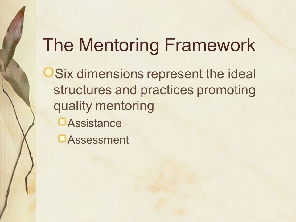 The Mentoring Framework Represents a standards-based approach to Mentoring Improves teacher quality to enhance student learning