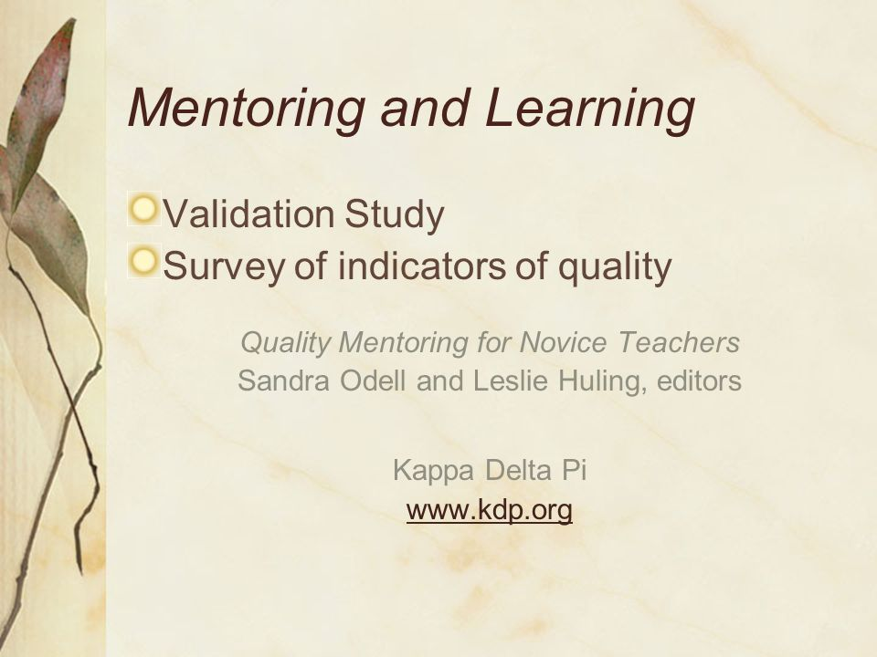 Mentoring and Learning Quality Mentoring Programs Content of mentoring program Teacher retention New teacher needs