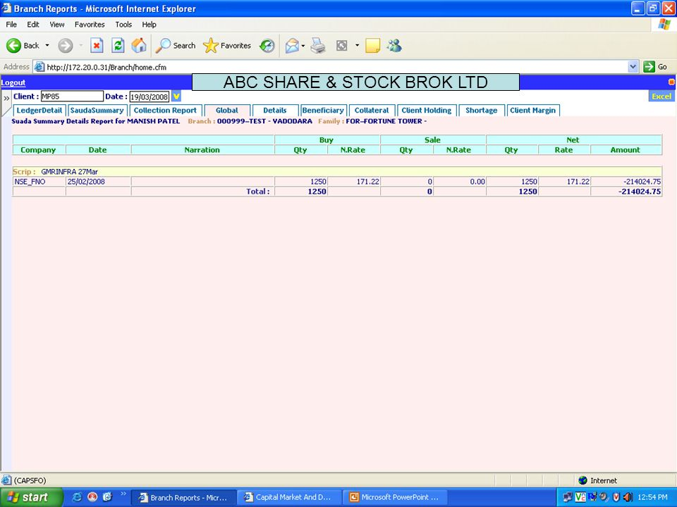 This screen shows information like Script wise / Settlement wise Trade summary report for a particular client ABC SHARE & STOCK BROK LTD