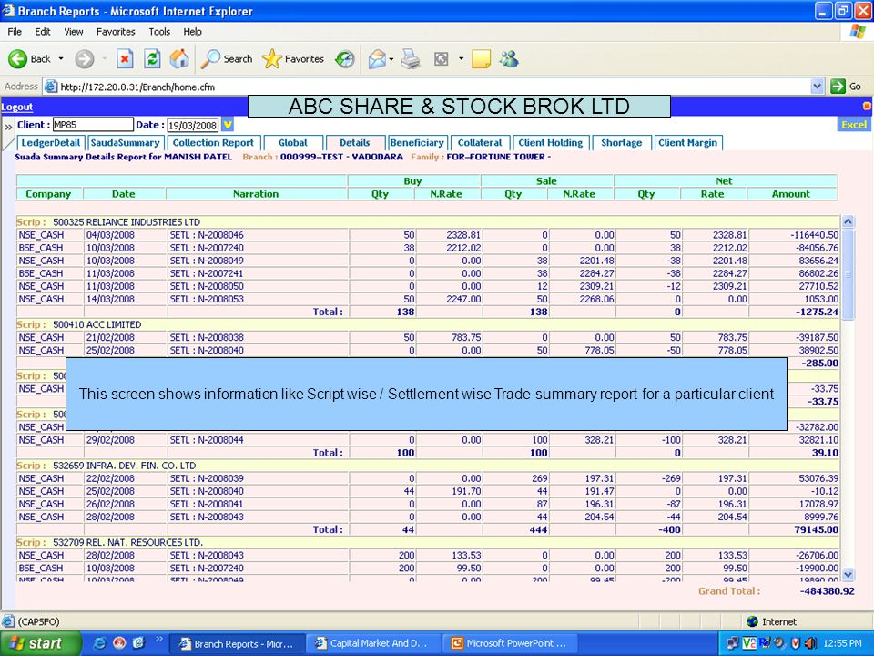 This screen contain information about script in Broker's House Account. ABC SHARE & STOCK BROK LTD