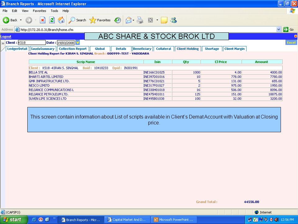 Settlement wise Delivery Sell Shortages ABC SHARE & STOCK BROK LTD