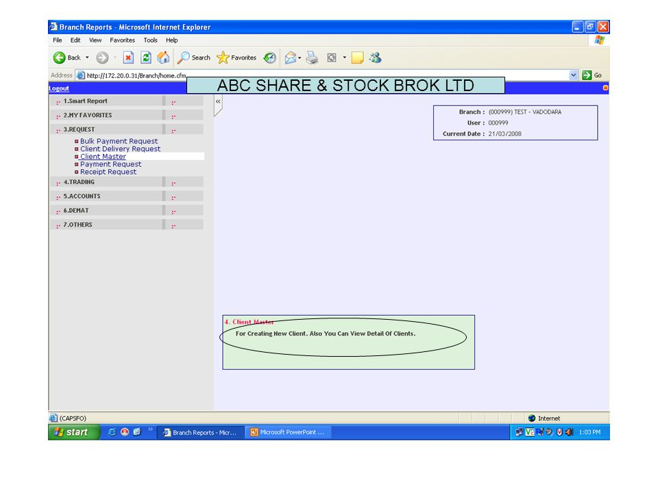 Click on Add New Client to add new client KYC request. ABC SHARE & STOCK BROK LTD