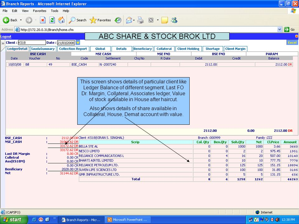 This screen shows trade summary for Segment wise / Exchange wise of all client for a particular day/ settlement.