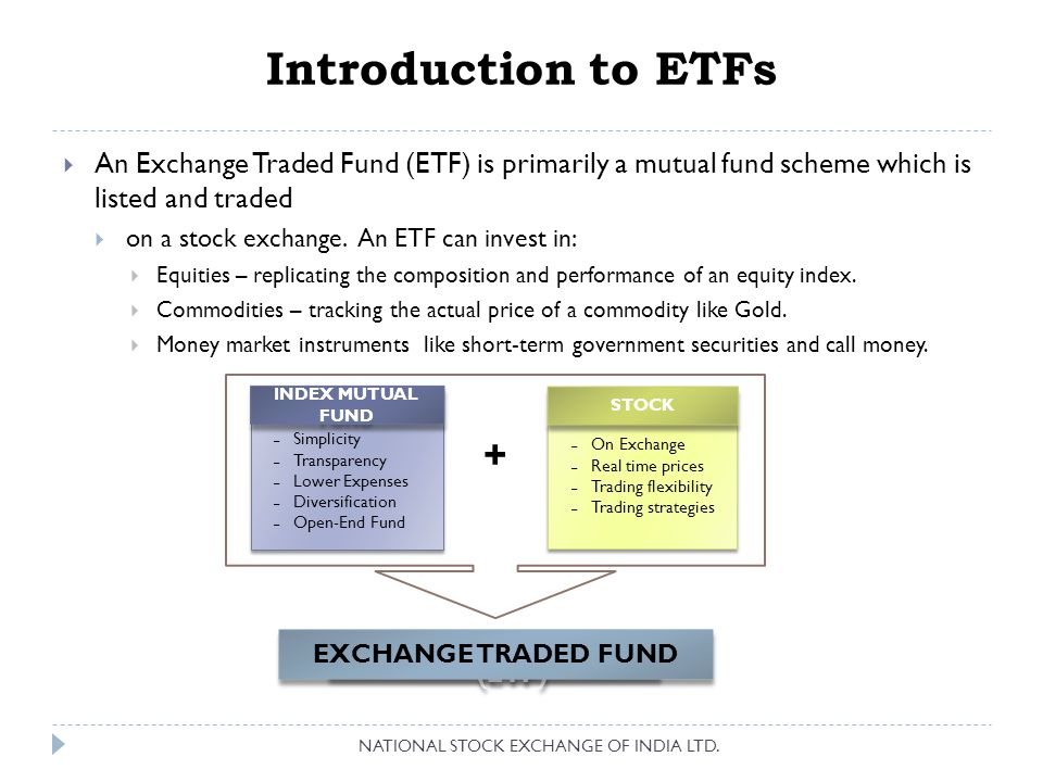 What is an ETF.NATIONAL STOCK EXCHANGE OF INDIA LTD.