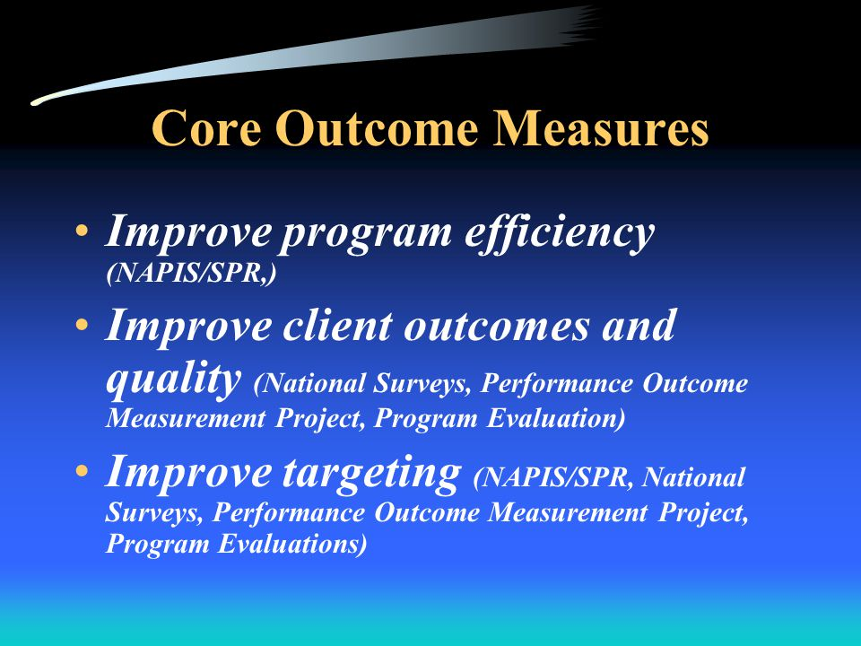 PART Required by the OMB, within the Executive Office of the President Plays a major role in the budget process Establishes a systematic, consistent process for rating program performance in order to make budget decisions Emphasizes assessment criteria for program performance & management The measure of compassion is more than good intentions, it is good results.