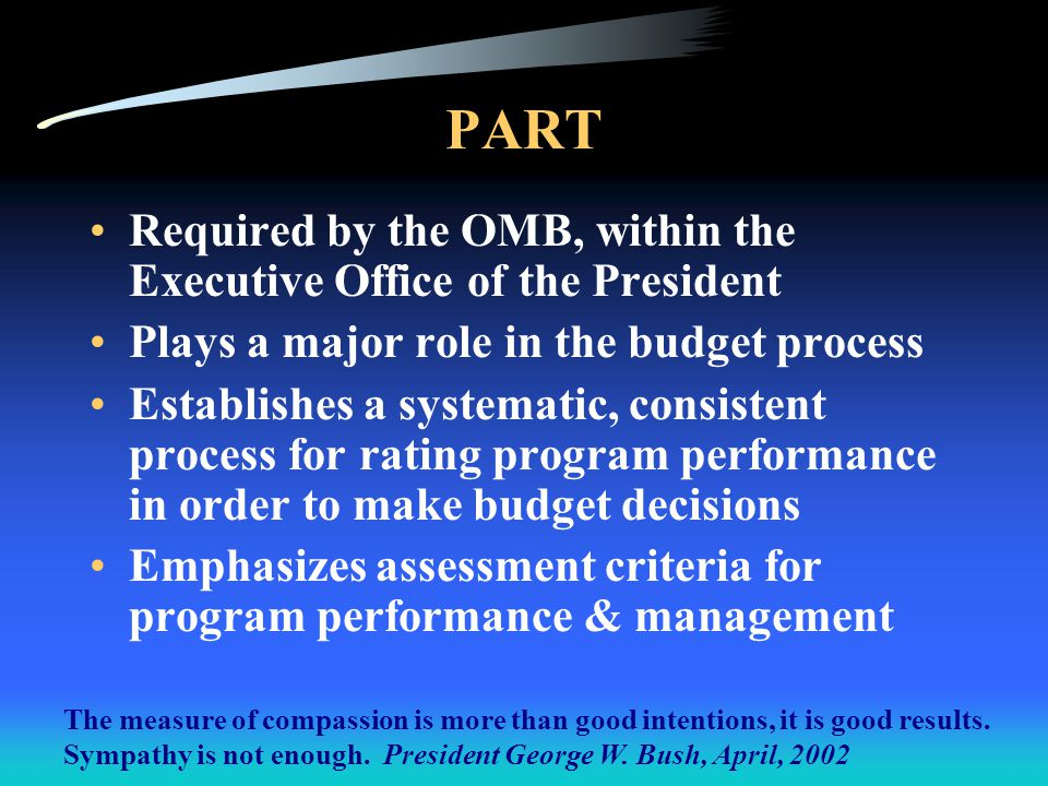 PART http://www.whitehouse.gov/omb/part/ http://www.whitehouse.gov/omb/expectmore/index.html http://www.whitehouse.gov/omb/part/ Section Scores CY 2003: –1 – 100% - Program purpose –2 – 75% - Program performance measures –3 – 100% - Program accountability –4 – 67% - Long-term performance Overall Score Changes –CY 2002 – 49 –CY 2003 – 81 –Score change due to new performance data, National Survey data Overall Rating: Moderately Effective, second highest rating