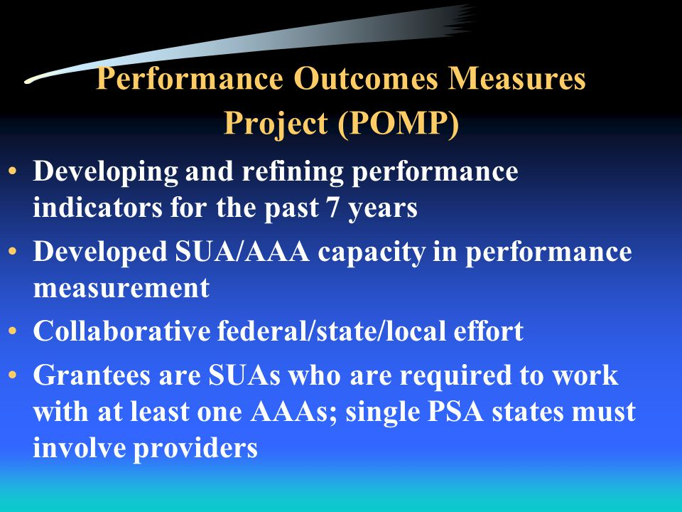 Performance Outcomes Measures Project (POMP) Developing core performance measurement tools POMP 8 grantees will collaboratively be: –Validating tools that have been developed –Pilot testing statewide performance measurement methodology –Developing performance measurement toolkits for the aging network Survey tools include: 1.Consumer assessment of service quality for core services 2.Consumer satisfaction 3.Consumer reported outcomes 4.Consumer demographic characteristics