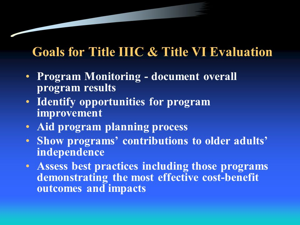 Status of Title IIIC and VI Evaluation 2006 Extensive statement of work compiled Proposals received, solicitation closed Expect an award in the next month Final evaluation due within 2 years Will be the first complete evaluation of Title VI Will build on results of the Mathematica July 1996 Title IIIC & Title VI Nutrition Evaluation