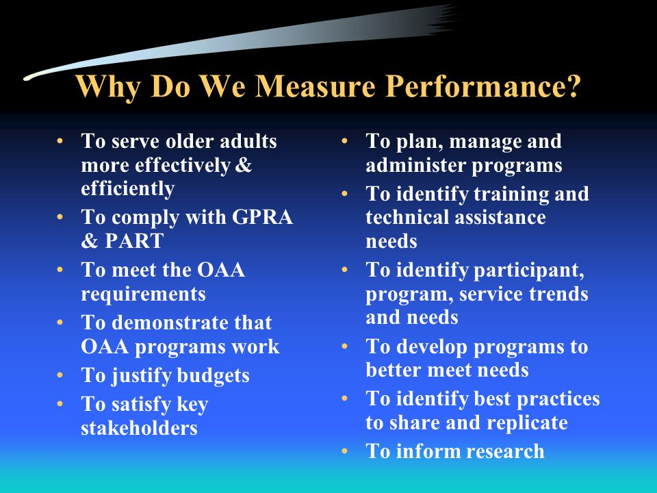 AoA Practices Integrated Program Evaluation AoA Integrated Program Evaluation Impact Process Outcome Cost-Benefit For true transparency, all four types of evaluations are important to inform the aging network, the Executive Branch, citizens, Congress, advocacy groups, the private sector and other stakeholders.