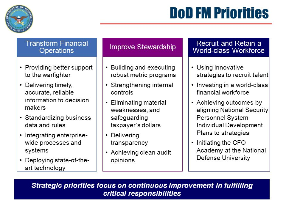 DoD FM Emerging Issues Financial Transformation is delivering results and the Department is committed to meeting the challenges ahead Transform Financial Operations Driving financial reform in a warfighting culture Balancing the global scale of operations and diverse missions Managing external and oversight stakeholder expectations Building and executing a totally integrated financial improvement and audit readiness plan Improve Stewardship Recruit and Retain a World-class Workforce Changing operational perceptions about the value of internal controls Building relationships with stakeholders that lead to successful outcomes Finding the optimal balance between risk and cost Achieving clean audit opinions Paying competitive rates for financial talent Retaining institutional knowledge in light of retirement bow wave Using innovative strategies to recruit talent Achieving outcomes by aligning National Security Personnel System Individual Development Plans to strategies