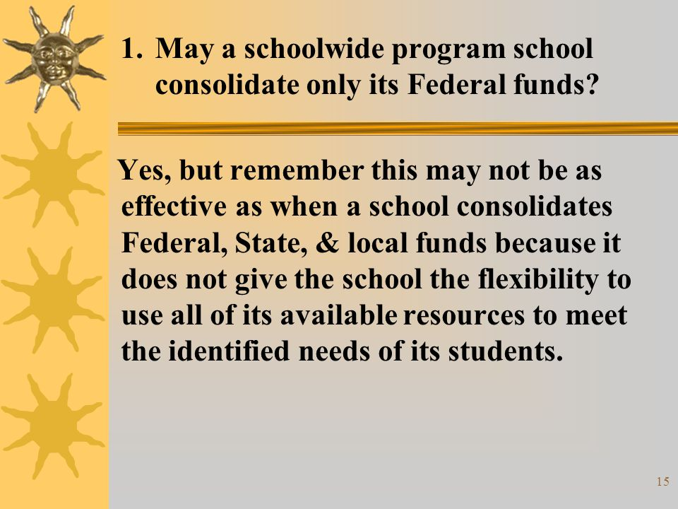 16 1.May a schoolwide program school consolidate only its Federal funds.