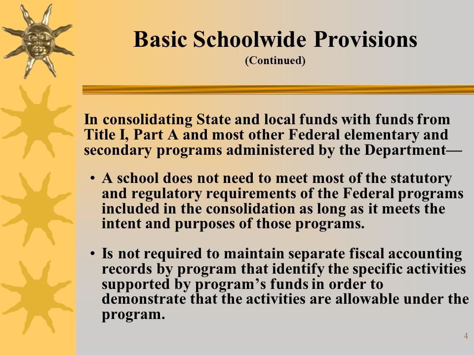 5 Basic Schoolwide Provisions (Continued) Each school, however, must— Identify the specific programs being consolidated, and the amount each program contributes to the consolidation.