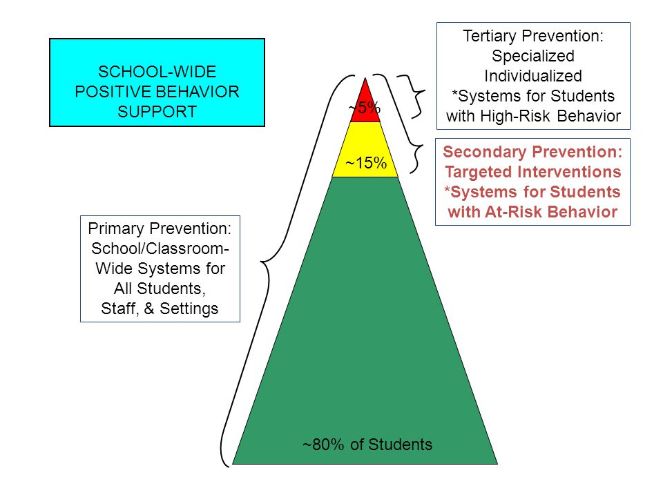 Primary Prevention: School-wide/Classroom/ Non-classroom Systems for All Students, Staff, & Settings Secondary Prevention: Targeted Systems for Students with At-Risk Behavior Tertiary Prevention: Individualized Systems for Students with High-Risk Behavior ~80% of Students ~15% ~5% CONTINUUM OF SCHOOL-WIDE POSITIVE BEHAVIOR SUPPORT Today's focus