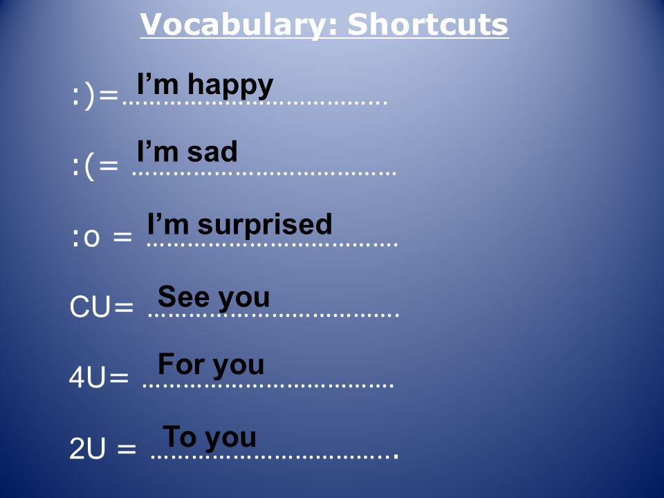 Vocabulary: Shortcuts CUL8R = ………………………………….RUOK.