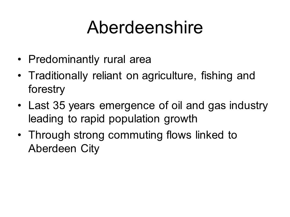 Aberdeenshire Households expected to rise by 15.9% between 2006 and 2021, High proportion of under 20's and fewer over 65's than Scottish average but Number of Older People 75+ increase from 2006 to 2021 by 44% but by 2031 95% 71% owner occupation, 19% social rent, 6% private rent and 4% other