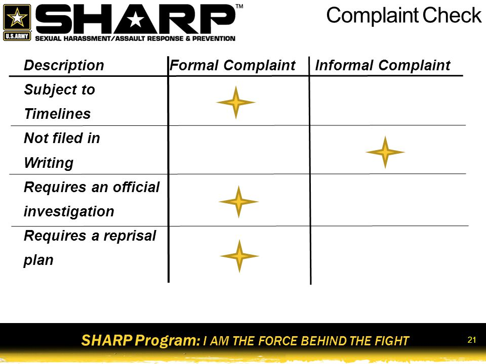 SHARP Program: I AM THE FORCE BEHIND THE FIGHT 22 Admin & UCMJ Sexual Harassment Penalties Admin Penalties Mandatory counseling Discharge from service Bar to re-enlistment Adverse performance evaluations Relief for cause Administrative reduction Admonition Reprimand Admin withholding of privileges Rehabilitative transfer to another unit UCMJ Penalties OffenseArticleMaximum Penalties Failure to obey order or regulation 92Bad Conduct Discharge (BCD), 6 months confinement, and forfeiture of all pay and allowances Cruelty and maltreatment 93Dishonorable Discharge, 1 yr confinement, and forfeiture of all pay and allowances Provoking speeches or gestures 1176 months confinement and forfeiture of 2/3 of all pay and allowances for 6 months Indecent language 134BCD, 6 months confinement, and forfeiture of 2/3 of all pay and allowances