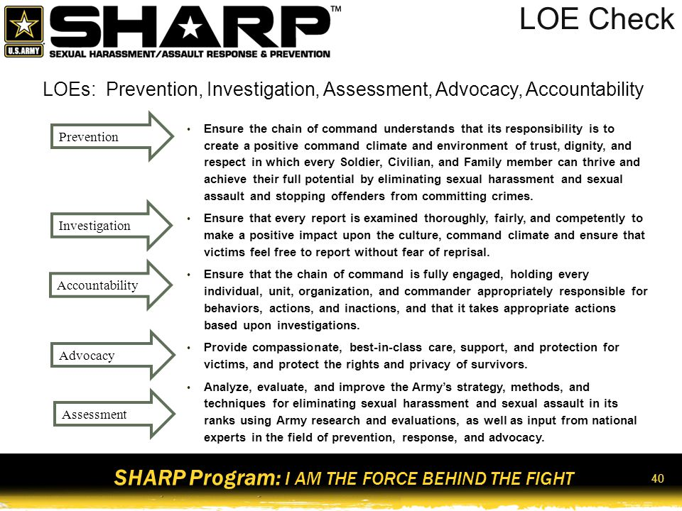 SHARP Program: I AM THE FORCE BEHIND THE FIGHT SARC and VA Responsibilities ResponsibilitySARCVA Provide care and Support to victims Process reports of Sexual assault Facilitate SHARP Training Enter data into ICRS and DSAIDS Securely store DD 2910 And DD 2911 Provide 24/7 response capability 41