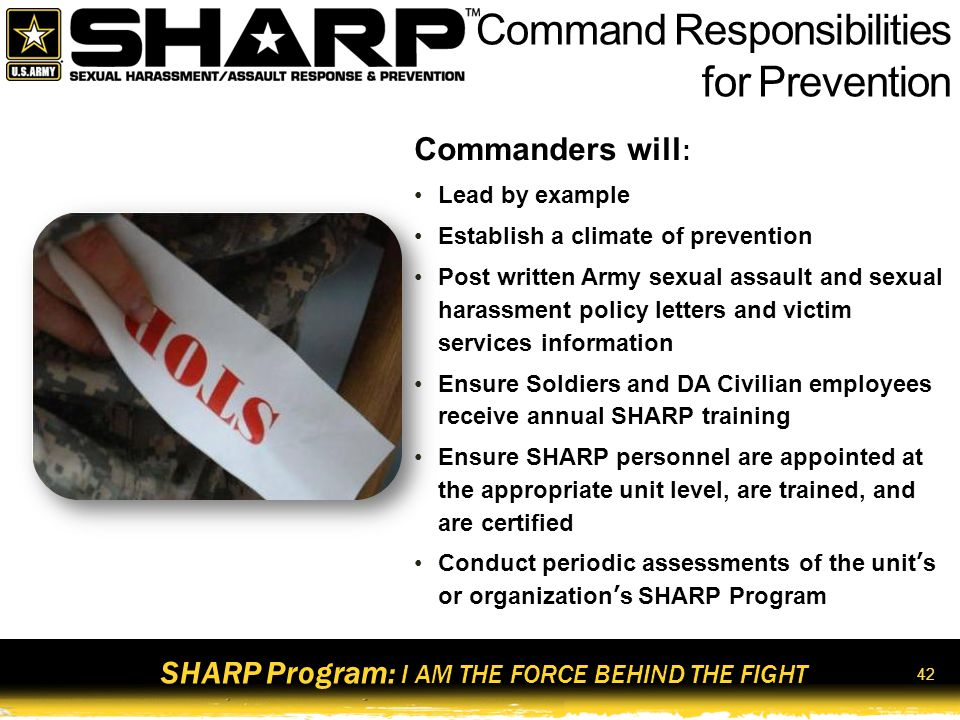 SHARP Program: I AM THE FORCE BEHIND THE FIGHT 43 Whose Responsibility?