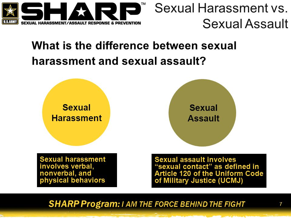 SHARP Program: I AM THE FORCE BEHIND THE FIGHT 8 Continuum of Behaviors Mutually flirtatious/playful Inappropriate or non-mutual Sexual harassment Sexual assault Mutually consenting/safe Intervention opportunities Less severe More severe Sexual Innuendo Sexual Harassment Sexual Assault