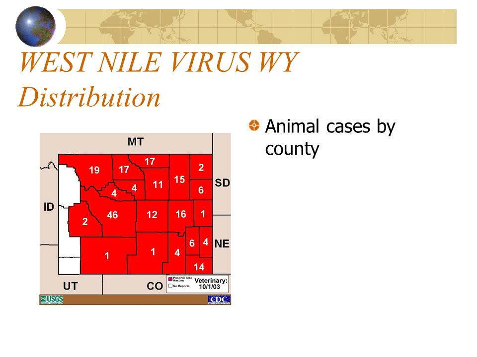 WEST NILE VIRUS WY Distribution Human Cases By County: