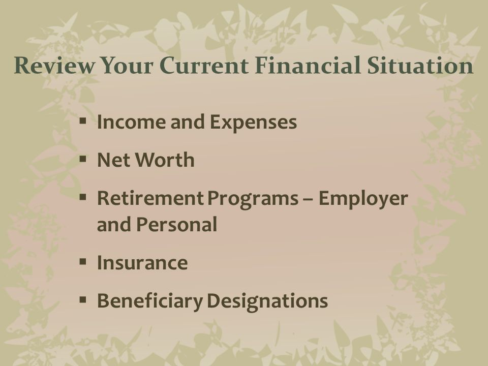 Ingredients of a Good Financial Plan  Set financial goals— For purchases such as cars, retirement planning, insurance  Discipline— Stay the course  Outsource— Build relationships with people who can help you