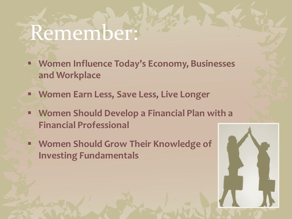 Summary: Six Things Women Need to Know About Money 1.