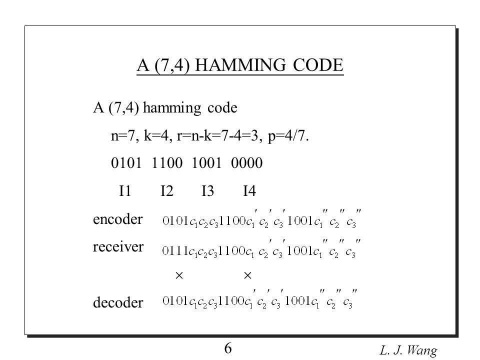L.J. Wang 7 Let a 1, a 2,..., a k be the k binary of message digital.