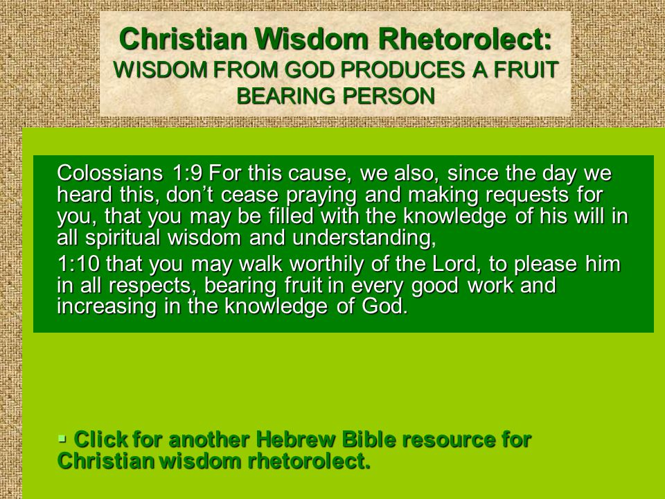 A Hebrew Bible Resource for Christian Wisdom Rhetorolect: THE LORD DISCIPLINES THE ONE HE LOVES Proverbs 3:11 My child, don't despise Adonai's discipline nor be weary of his reproof, 3:12 for whom Adonai loves, he reproves; even as a father reproves the son in whom he delights.