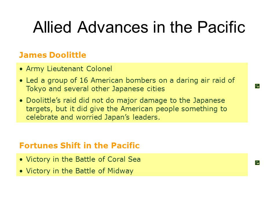 Doolittle's Raid on Tokyo April 18, 1942 Carrier launched B-52's attack Tokyo Not much damage but lifted U.S.