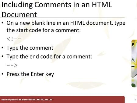 XP Including Comments in an HTML Document On a new blank line in an HTML document, type the start code for a comment: <!-- Type the comment Type the end.