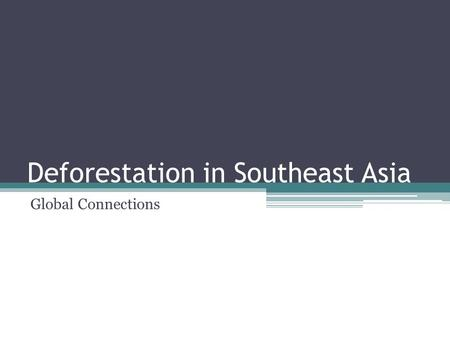 Deforestation in Southeast Asia Global Connections.