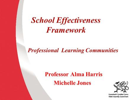 School Effectiveness Framework Professional Learning Communities Professor Alma Harris Michelle Jones.