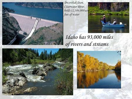 Dworshak Dam, Clearwater River, holds 12,384,000 acre- feet of water Idaho has 93,000 miles of rivers and streams.