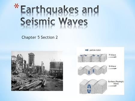 Chapter 5 Section 2. * Earthquake * Focus * Epicenter * P Wave * S Wave * Surface Wave * Mercalli Scale * Magnitude * Richter Scale * Seismograph * Moment.