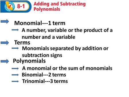 Polynomials Monomial---1 term A number, variable or the product of a number and a variable Terms Monomials separated by addition or subtraction signs A.
