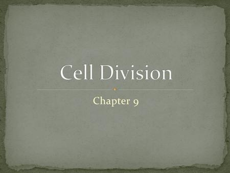 Chapter 9. I. Prokaryote Cell Division (bacteria/archaea) A. No nucleus so no mitosis B. No microtubules or motor proteins to move chromosome. C. Divide.
