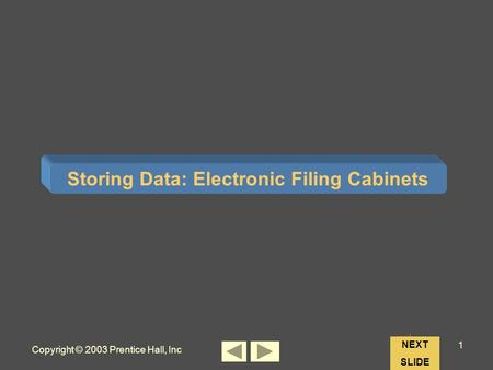 Copyright © 2003 Prentice Hall, Inc 1 Chapter 4 Storing Data: Electronic Filing Cabinets NEXT SLIDE.