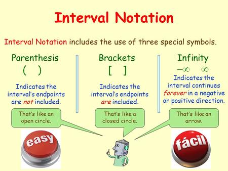 Interval Notation Interval Notation includes the use of three special symbols. ParenthesisBracketsInfinity Indicates the interval's endpoints are not.