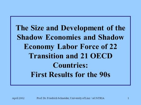 April 2002Prof. Dr. Friedrich Schneider, University of Linz / AUSTRIA1 The Size and Development of the Shadow Economies and Shadow Economy Labor Force.