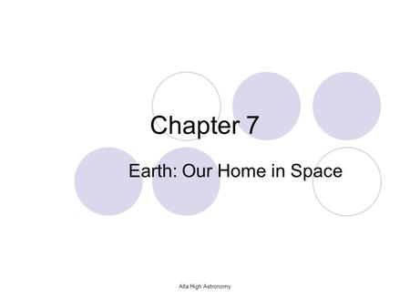 Alta High Astronomy Chapter 7 Earth: Our Home in Space.