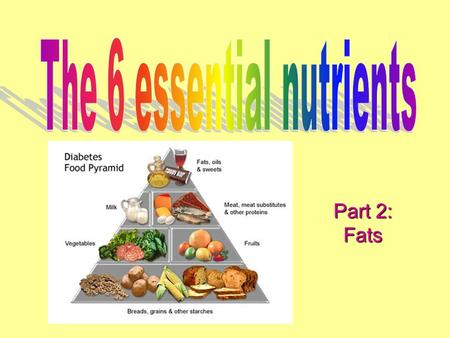Part 2: Fats. 6 essential nutrients 1.Carbohydrates 2.Fats 3.Proteins 4.Vitamins 5.Water 6.minerals.