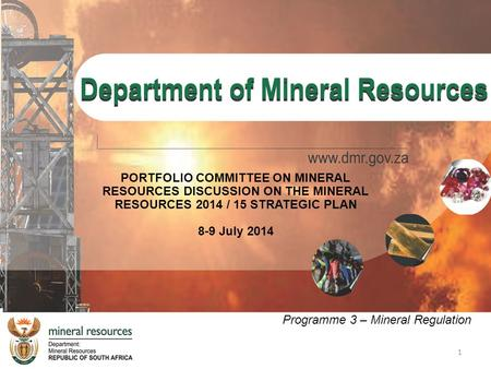 1 PORTFOLIO COMMITTEE ON MINERAL RESOURCES DISCUSSION ON THE MINERAL RESOURCES 2014 / 15 STRATEGIC PLAN 8-9 July 2014 Programme 3 – Mineral Regulation.
