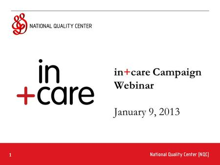1 in+care Campaign Webinar January 9, 2013. 2 Ground Rules for Webinar Participation Actively participate and write your questions into the chat area.