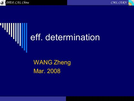 Eff. determination WANG Zheng Mar. 2008. Feb.2008WANG Zheng2 The method  Eff. Determined from MC sample.  Eff. Determined from data. Object id/efficiency: