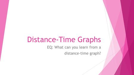 Distance-Time Graphs EQ: What can you learn from a distance-time graph?