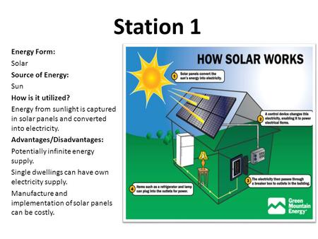 Station 1 Energy Form: Solar Source of Energy: Sun How is it utilized? Energy from sunlight is captured in solar panels and converted into electricity.