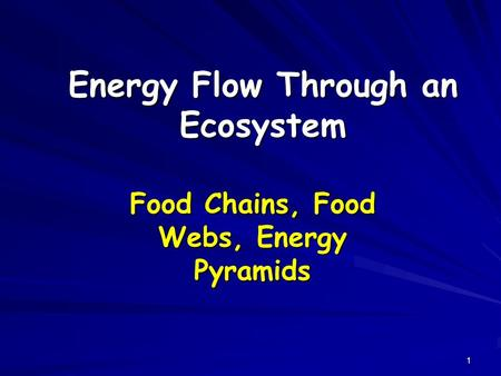 1 Energy Flow Through an Ecosystem Food Chains, Food Webs, Energy Pyramids.