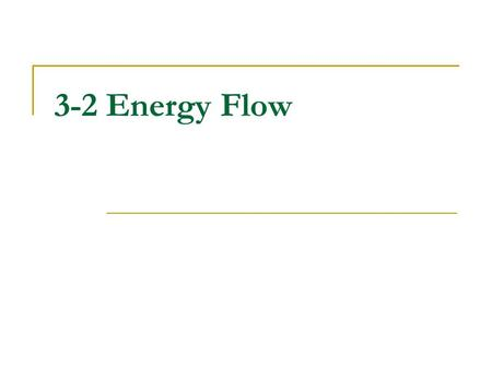 3-2 Energy Flow. 3-2 Topic Outline 3–2Energy Flow A.Producers 1.Energy From the Sun 2.Life Without Light B.Consumers C.Feeding Relationships 1.Food Chains.