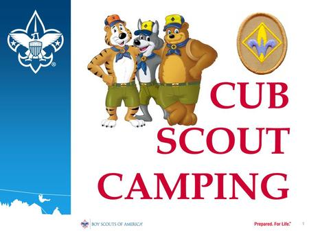 1 CUB SCOUT CAMPING. TERMINAL PERFORMANCE OBJECTIVE Identify various factors involved in conducting a successful Cub Scout Campout. 2.